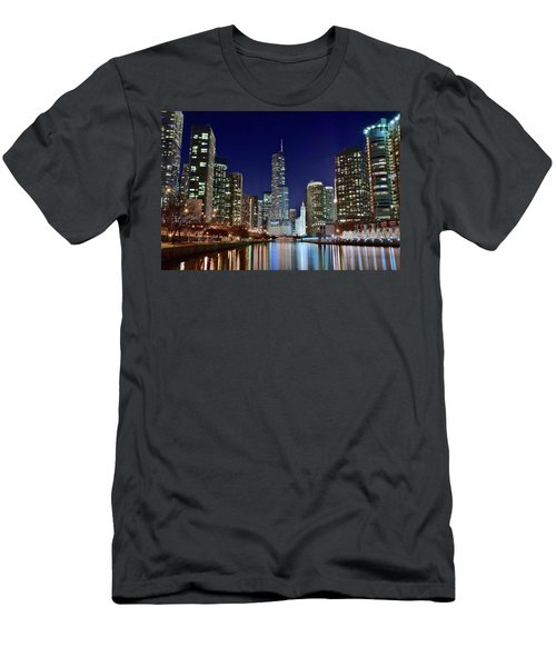 A View Down The Chicago River Men's T-Shirt (Slim Fit) by Frozen in Time Fine Art Photography