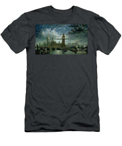 A View Of Westminster Abbey And The Houses Of Parliament Men's T-Shirt (Slim Fit) by John MacVicar Anderson