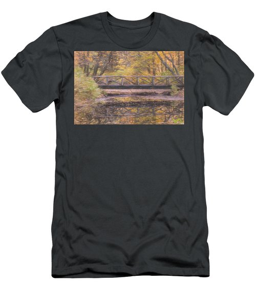 A Walking Bridge Reflection On Peaceful Flowing Water. Men's T-Shirt (Athletic Fit)