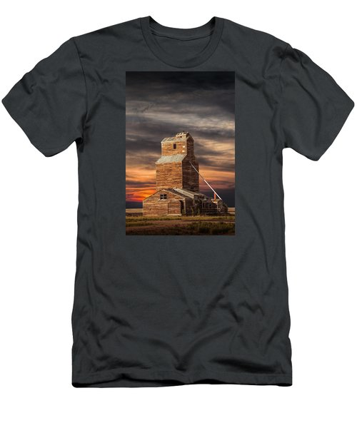 Abandoned Grain Elevator On The Prairie Men's T-Shirt (Slim Fit) by Randall Nyhof
