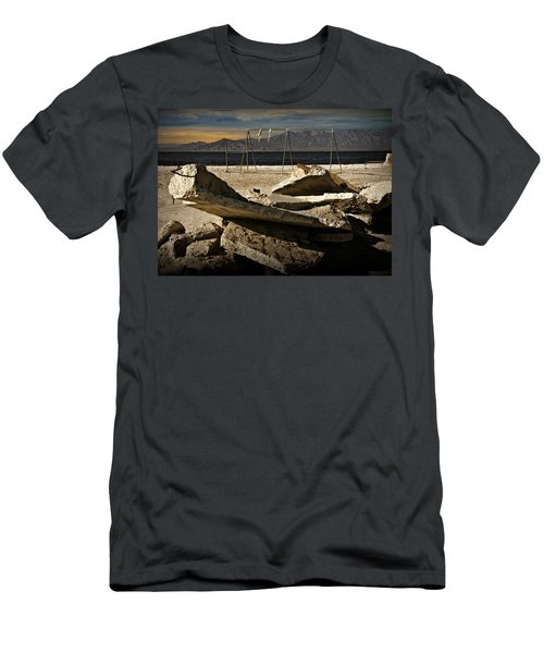 Men's T-Shirt (Slim Fit) featuring the photograph Abandoned Ruins On The Eastern Shore Of The Salton Sea by Randall Nyhof