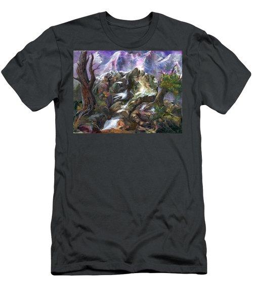 Men's T-Shirt (Slim Fit) featuring the painting Above The Timberline by Sherry Shipley