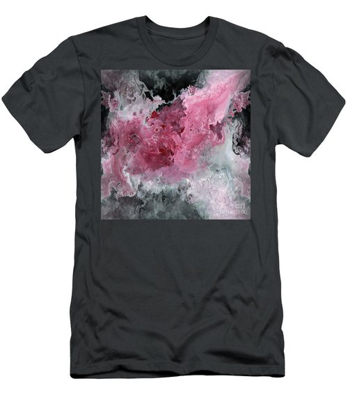 Abstract Acrylic Painting Red Black And White Men's T-Shirt (Slim Fit) by Saribelle Rodriguez