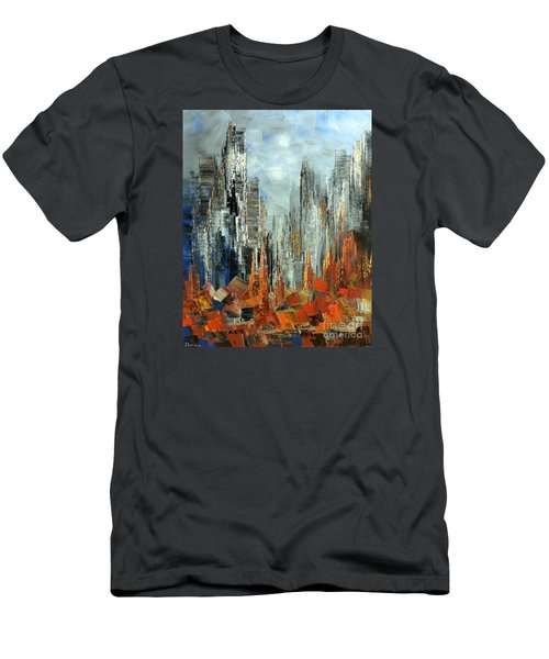 Men's T-Shirt (Slim Fit) featuring the painting Abstract Autumn by Tatiana Iliina