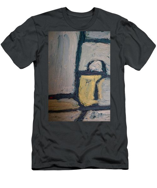 Men's T-Shirt (Slim Fit) featuring the painting Abstract Blue Shapes by Shea Holliman