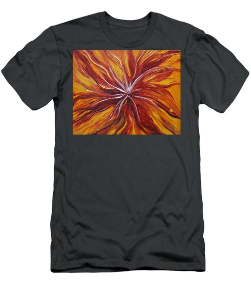 Abstract Orange Flower Men's T-Shirt (Athletic Fit)