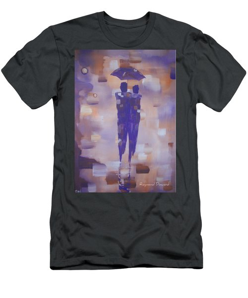 Men's T-Shirt (Slim Fit) featuring the painting Abstract Walk In The Rain by Raymond Doward