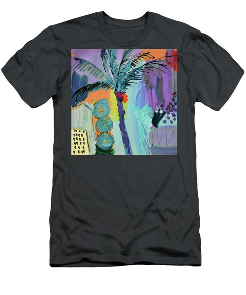 Abtract, Landscape With Palm Tree In California Men's T-Shirt (Slim Fit) by Amara Dacer