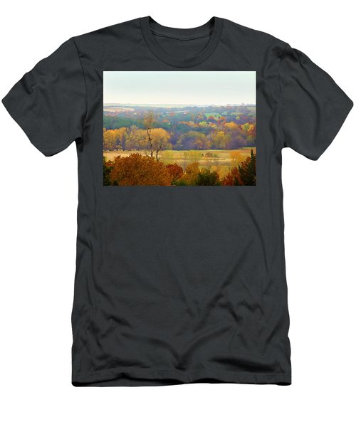 Men's T-Shirt (Athletic Fit) featuring the digital art Across The River In Autumn by Shelli Fitzpatrick