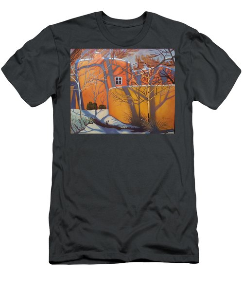 Adobe, Shadows And A Blue Window Men's T-Shirt (Slim Fit) by Art West