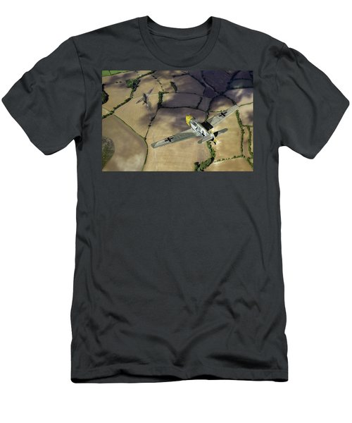 Men's T-Shirt (Athletic Fit) featuring the photograph Adolf Galland Attacking Spitfire by Gary Eason