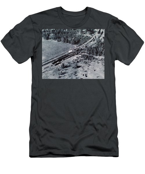 Aerial Train Wreck Men's T-Shirt (Athletic Fit)