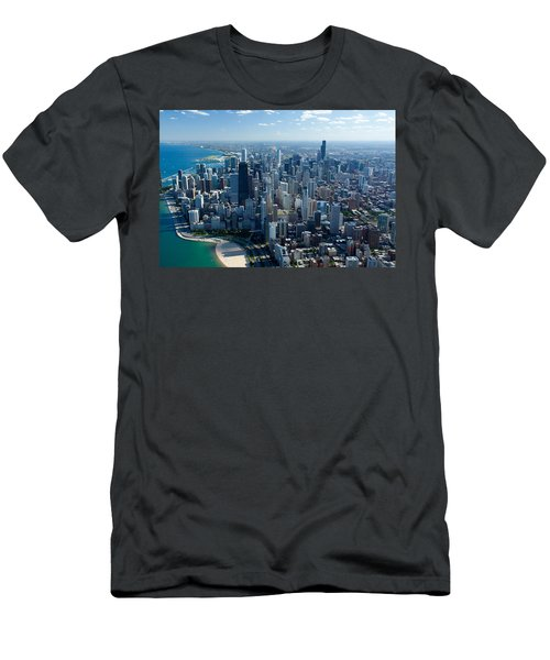 Aerial View Of A City, Lake Michigan Men's T-Shirt (Slim Fit) by Panoramic Images