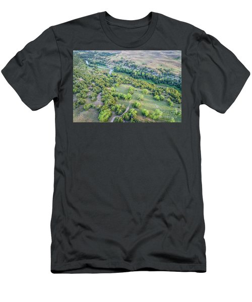 aerial view of Dismal River in Nebraska Sandhills Men's T-Shirt (Athletic Fit)