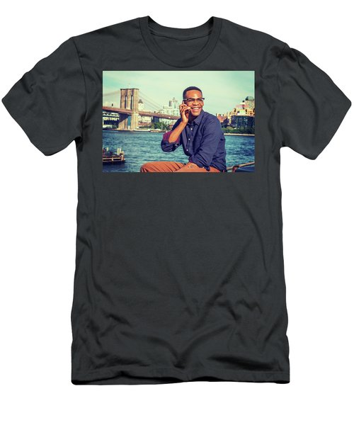 African American Man Traveling In New York Men's T-Shirt (Athletic Fit)