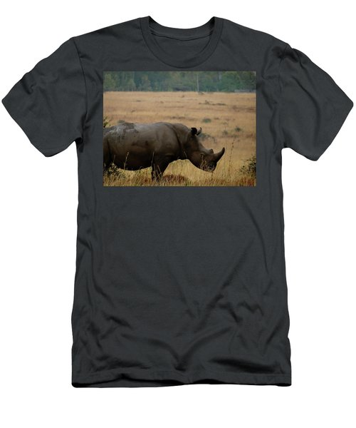African Animals On Safari - One Very Rare White Rhinoceros With Background Men's T-Shirt (Athletic Fit)
