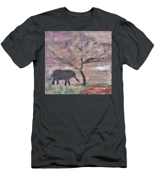 Men's T-Shirt (Slim Fit) featuring the painting African Landscape Baby Elephant And Banya Tree At Watering Hole With Mountain And Sunset Grasses Shr by MendyZ