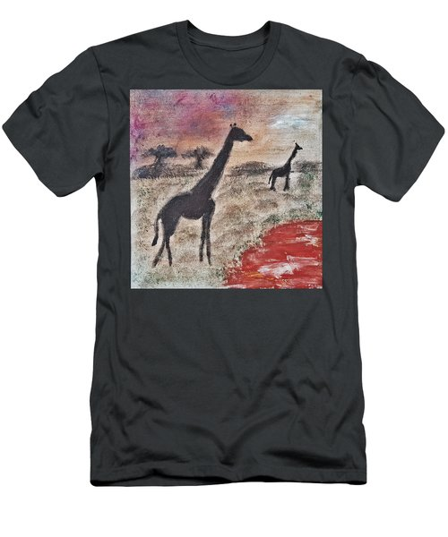 Men's T-Shirt (Slim Fit) featuring the painting African Landscape Giraffe And Banya Tree At Watering Hole With Mountain And Sunset Grasses Shrubs Sa by MendyZ