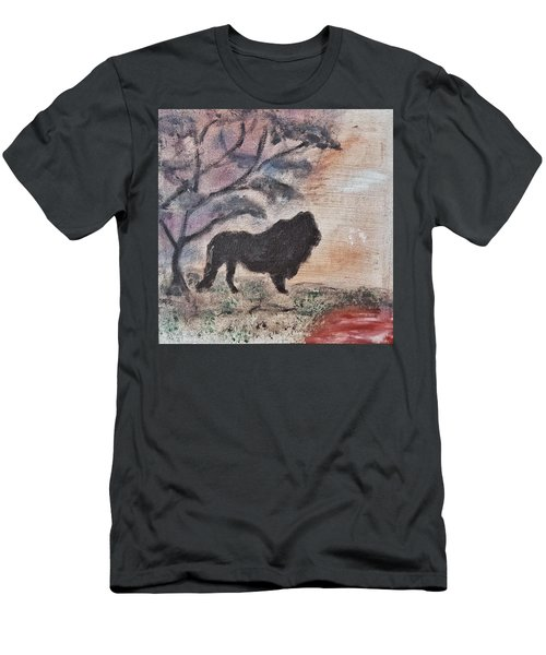 Men's T-Shirt (Slim Fit) featuring the painting African Landscape Lion And Banya Tree At Watering Hole With Mountain And Sunset Grasses Shrubs Safar by MendyZ