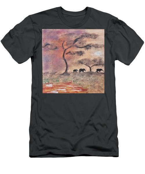 Men's T-Shirt (Slim Fit) featuring the painting African Landscape Three Elephants And Banya Tree At Watering Hole With Mountain And Sunset Grasses S by MendyZ