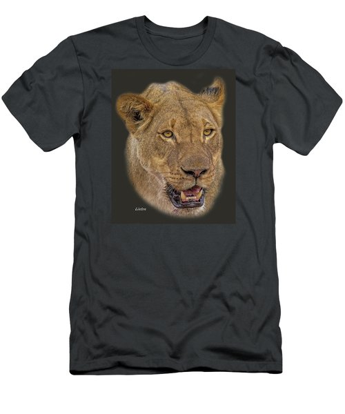 Men's T-Shirt (Athletic Fit) featuring the digital art African Lioness Tee by Larry Linton