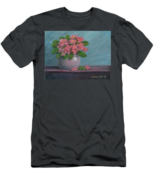 Men's T-Shirt (Slim Fit) featuring the painting African Violets by Kathleen McDermott