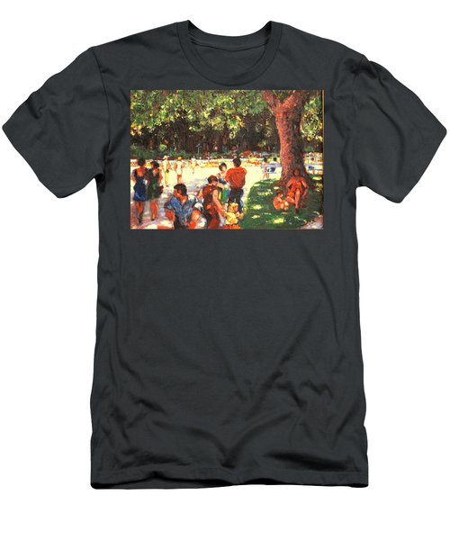 Men's T-Shirt (Slim Fit) featuring the painting Afternoon In The Park by Walter Casaravilla