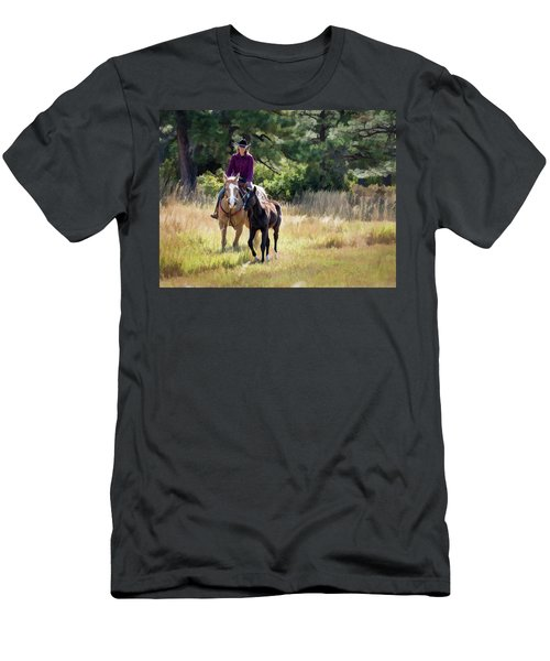Afternoon Ride In The Sun - Cowgirl Riding Palomino Horse With Foal Men's T-Shirt (Slim Fit) by Nadja Rider