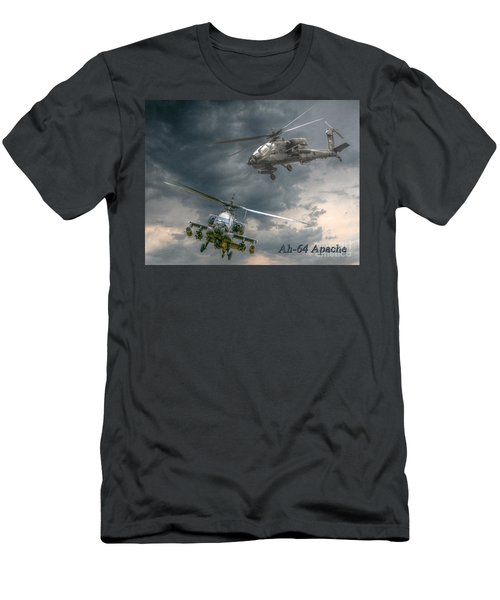 Ah-64 Apache Attack Helicopter In Flight Men's T-Shirt (Athletic Fit)
