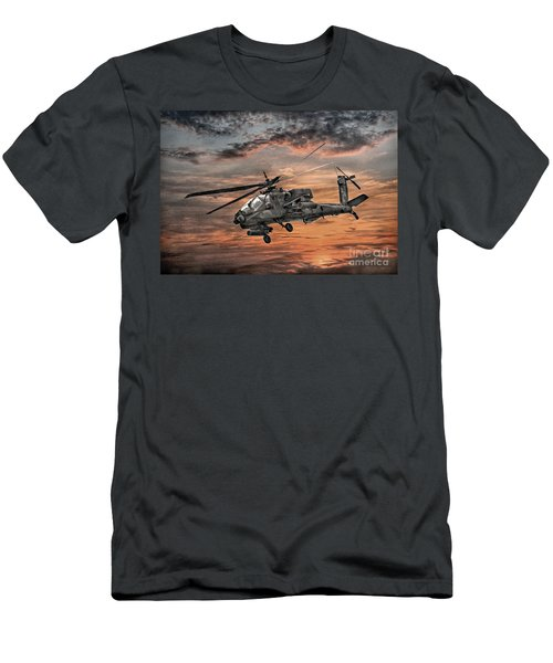 Men's T-Shirt (Slim Fit) featuring the digital art Ah-64 Apache Attack Helicopter by Randy Steele