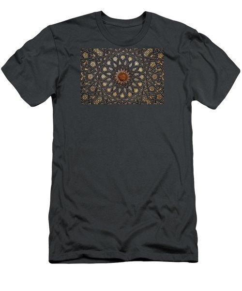 Men's T-Shirt (Slim Fit) featuring the photograph Al Ishaqi Wood Panel by Nigel Fletcher-Jones