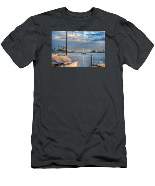 Alamitos Bay Inlet Sailboat Men's T-Shirt (Athletic Fit)