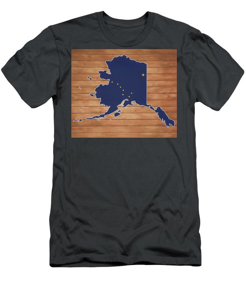 Alaska Map And Flag On Wood Men's T-Shirt (Athletic Fit)