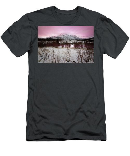 Alaska Range Pink Sky Men's T-Shirt (Athletic Fit)