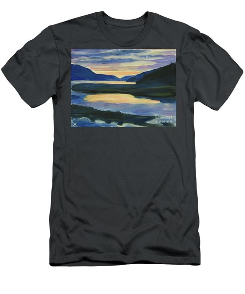 Men's T-Shirt (Athletic Fit) featuring the painting Alaska Sunset, Juneau by Yulia Kazansky