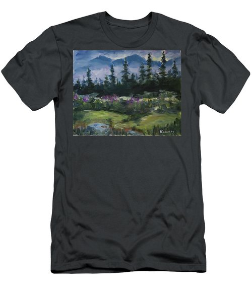 Men's T-Shirt (Athletic Fit) featuring the painting Alaskan Woods by Yulia Kazansky