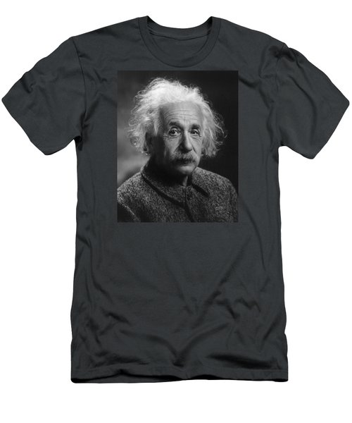 Men's T-Shirt (Athletic Fit) featuring the pyrography Albert Einstein, 1947. Age 68. by Artistic Panda