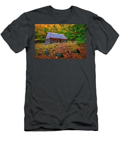 Alex Cole Cabin At Jim Bales Place, Roaring Fork Motor Trail In The Smoky Mountains Tennessee Men's T-Shirt (Athletic Fit)