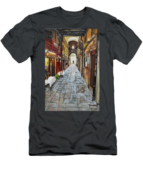 Men's T-Shirt (Athletic Fit) featuring the painting Alley On Parangon In Venice by Jan Dappen
