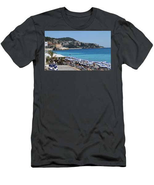 Along The Beach In Nice Looking Over Toward Monaco Men's T-Shirt (Slim Fit) by Rod Jellison