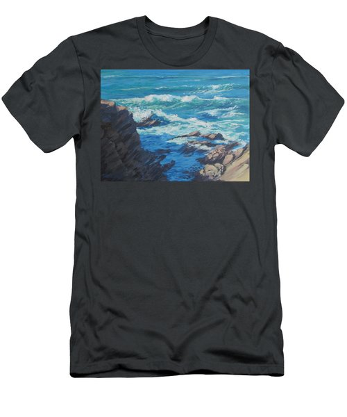 Men's T-Shirt (Slim Fit) featuring the painting Along The Cliff by Karen Ilari