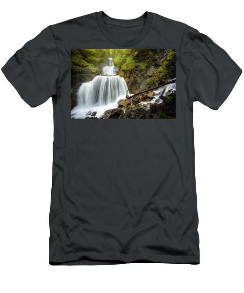 Amazing Mountain Waterfall Near Farchant Village At Garmisch Partenkirchen, Farchant, Bavaria, Germany. Men's T-Shirt (Athletic Fit)