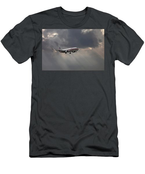 American Aircraft Landing After The Rain. Miami. Fl. Usa Men's T-Shirt (Athletic Fit)