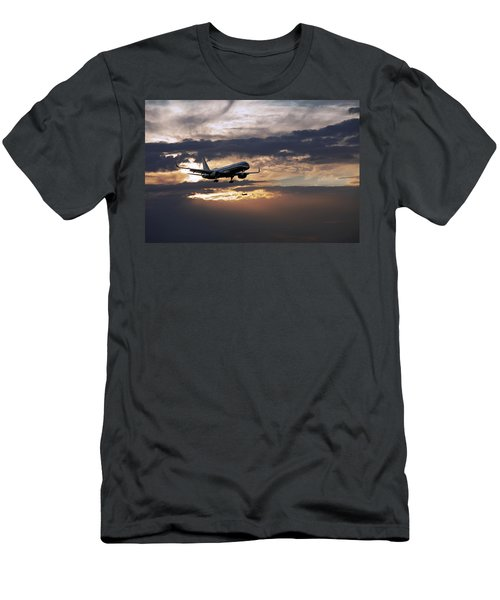 American Aircraft Landing At The Twilight. Miami. Fl. Usa Men's T-Shirt (Athletic Fit)