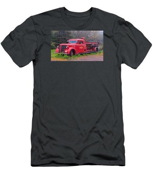 Men's T-Shirt (Slim Fit) featuring the photograph American Foamite Firetruck2 by Susan Crossman Buscho