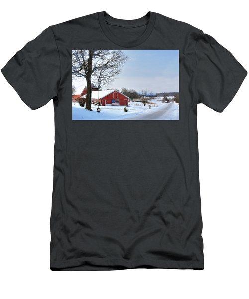 Men's T-Shirt (Slim Fit) featuring the digital art Americana Barn In Vermont by Sharon Batdorf
