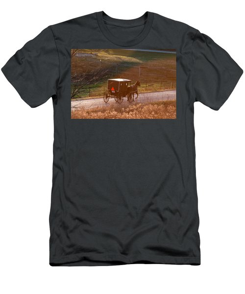Amish Buggy Afternoon Sun Men's T-Shirt (Athletic Fit)