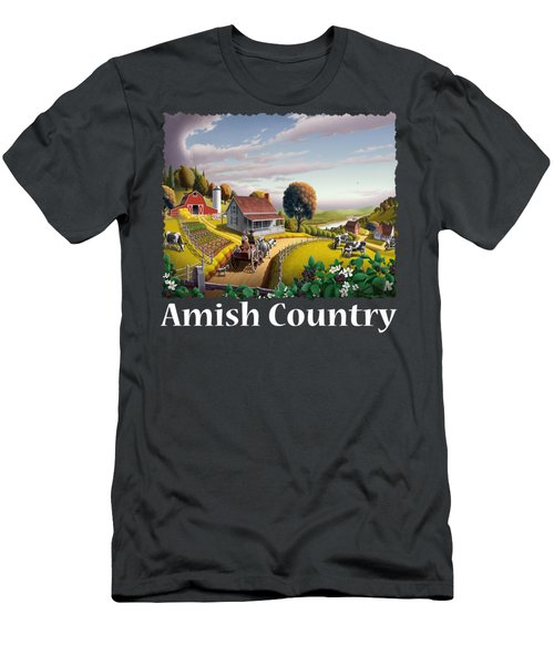 Amish Country T Shirt - Appalachian Blackberry Patch Country Farm Landscape Men's T-Shirt (Athletic Fit)