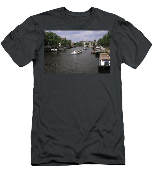 Amsterdam Water Scene Men's T-Shirt (Slim Fit) by Sally Weigand