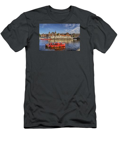 Amsterdam Waterfront Men's T-Shirt (Slim Fit) by Uri Baruch